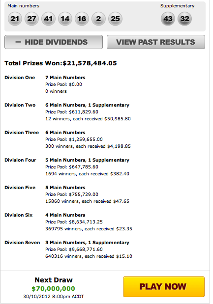 OZ Lotto Results Draw 975