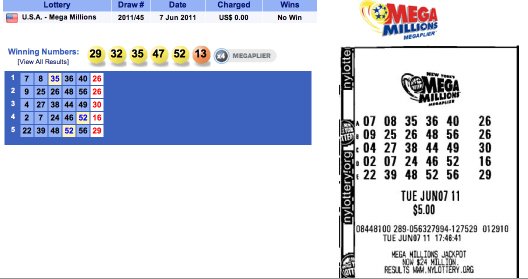 Results Of USA Mega Millions Draw 2011/45